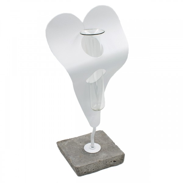 Reagenzglas Vase im Herz Metall-Halter ~ weiß ~ mit Beton-Fuß ~ 25cm