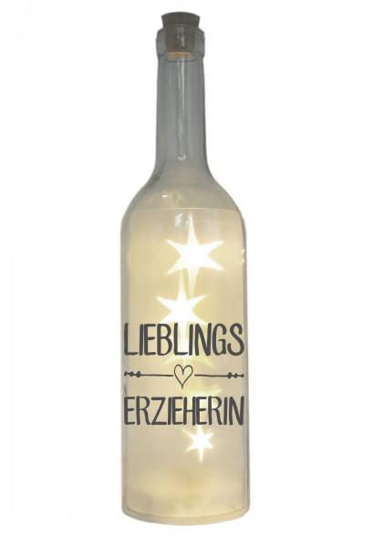 LED-Flasche mit Motiv, Lieblings-Erzieherin, grau, 29cm, Flaschen-Licht Lampe mit Text Spruch