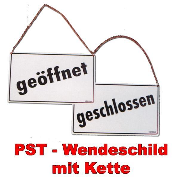 Hinweisschild - Wendeschild mit Kette - geöffnet geschlossen - auf zu Öffnungszeiten Geschäftszeiten Firma Geschäft Unternehmen Laden Fabrik Manufaktur Werkstatt Atelier Schild War