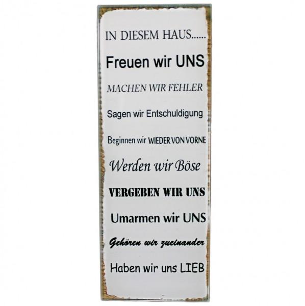 ~ Kleines Schild aus Glas zum stellen, Familie - In diesem Haus..., 16 x 6 cm