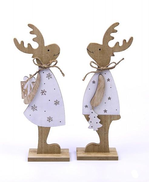 2er Set Deko-Figur aus Holz süßes Elch-Pärchen Junge Mädchen, weiß natur, 22,5x30x6cm Weihnachts-Deko Weihnachten Hirsch Rentier