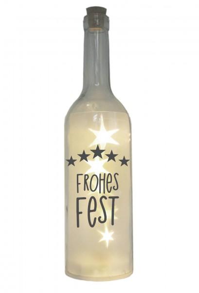 LED-Flasche mit Motiv, Frohes Fest Sterne, grau, 29cm, Flaschen-Licht Lampe mit Text Spruch