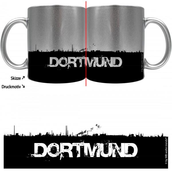 knallige Tasse mit rundum Motiv: DORTMUND Skyline ~ Farbe: silber-metallic ~ Kaffee-Becher mit Motiv