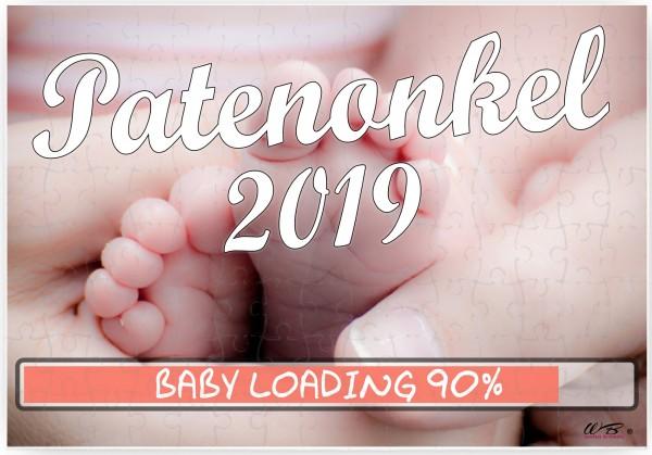 Puzzle-Botschaft eckig ~ Patenonkel 2019 / Baby-Füße ~ 120 Teile 27x18cm inkl. Geschenk-Beutel ~ WB wohn trends®