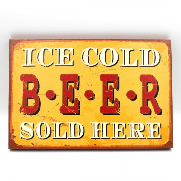 Schild ICE COLD BEER SOLD HERE, 30x20cm, Vintage Wandbild auf Holz-Keilrahmen