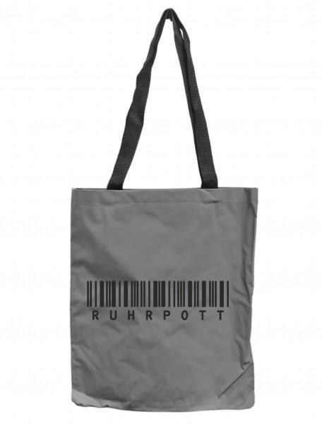 Reflektor-Tasche Ruhrpott Barcode, grau-silber REFLEKTIERT! Einkaufs-Beutel mit Innentasche, Einkaufstasche Tragetasche Shopper Shopping-Bag