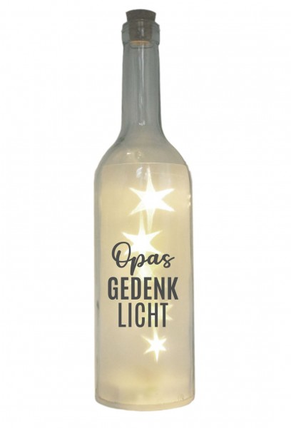 LED-Flasche mit Motiv, Opas Gedenk-Licht, grau, 29cm, Flaschen-Licht Lampe mit Text Spruch Trauer-Licht