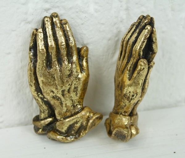 2 Blumenstecker Erdspieß - 2x gefaltete Hände gold - Grabschmuck Grab Trauer