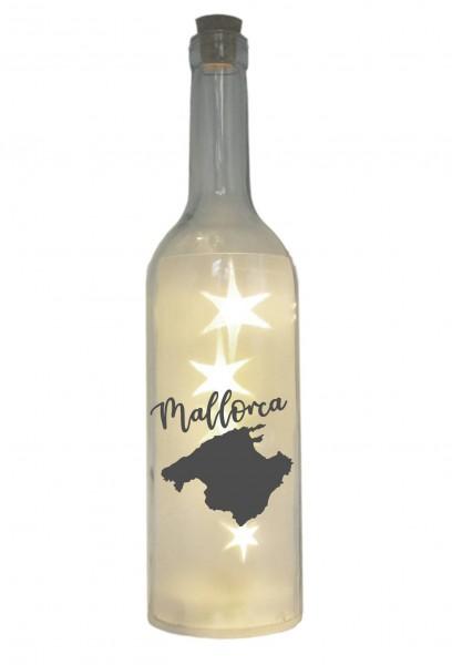 LED-Flasche mit Motiv, Silhouette Insel Mallorca, grau, 29cm, Flaschen-Licht Lampe mit Text Spruch Stadt