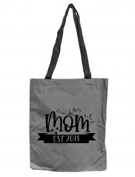 Reflektor-Tasche Mom EST 2018 Mama, grau-silber REFLEKTIERT! Einkaufs-Beutel mit Innentasche, Einkaufstasche Tragetasche Shopper Shopping-Bag