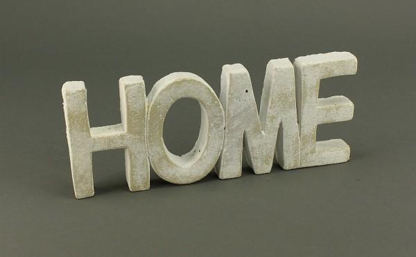 Schriftzug HOME weiß gewischt aus Keramik