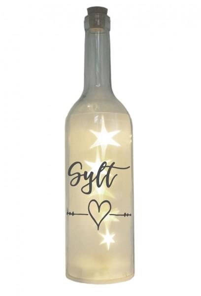 LED-Flasche mit Motiv, Insel Sylt Herz, grau, 29cm, Flaschen-Licht Lampe mit Text Spruch Stadt