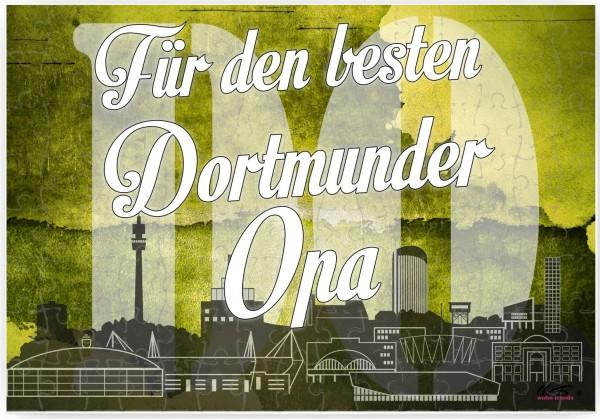 Puzzle-Botschaft eckig, Für den besten Dortmunder Opa - Gelsenkirchen, 120 Teile 27x18cm inkl. Geschenk-Beutel, WB wohn trends®