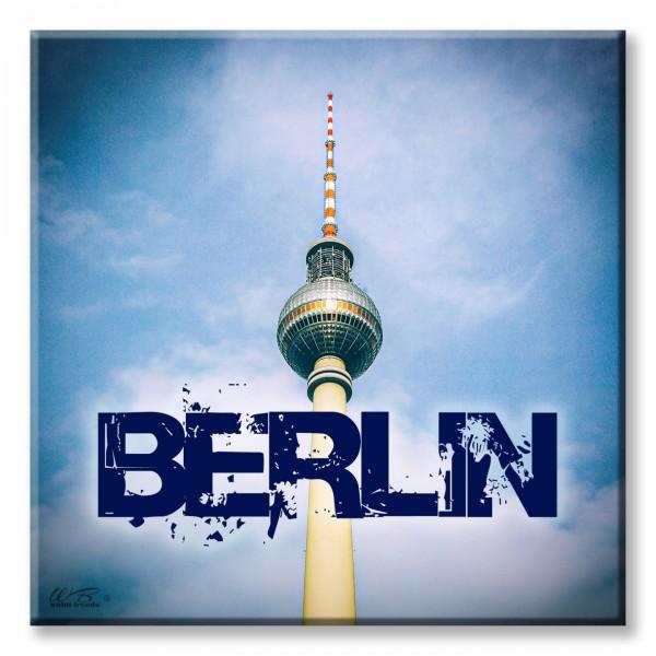 Deko-Fliese, Berlin Fernsehturm Ostalgie, Foto-Fliese Wand-Bild Deko-Schild 15x15cm