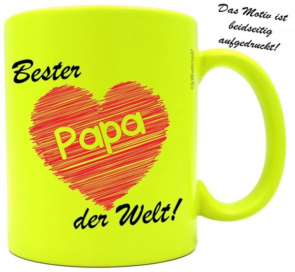 knallige Tasse mit beidseitigem Motiv ~ Bester Papa der Welt ~ Farbe: neon-gelb ~ Kaffee-Becher mit Motiv
