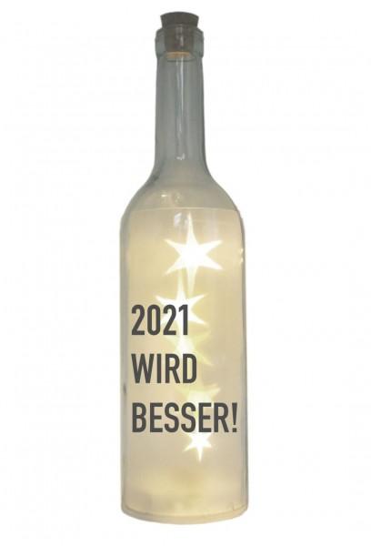 LED-Flasche mit Motiv, 2021 wird besser, grau, 29cm, Flaschen-Licht Lampe mit Text Spruch