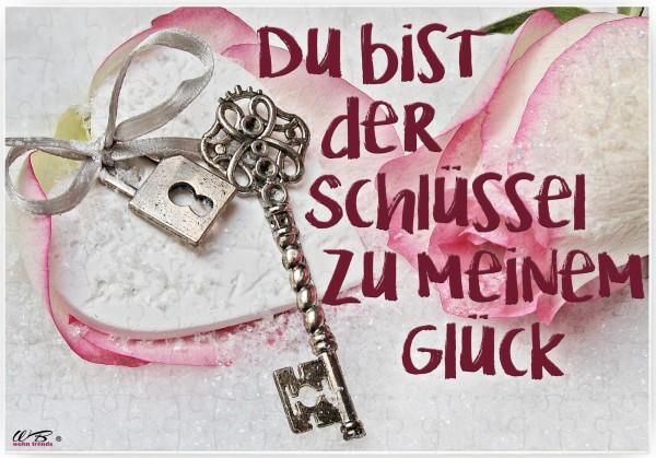 Puzzle-Botschaft eckig, Du bist der Schlüssel zu meinem Glück - Schlüssel, 120 Teile 27x18cm inkl. Geschenk-Beutel, WB wohn trends®