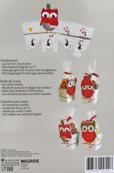Snackbox Keksverpackung, Winter Eule, 4 Boxen aus Karton-Papier, für Kekse Süßigkeiten Pralinen
