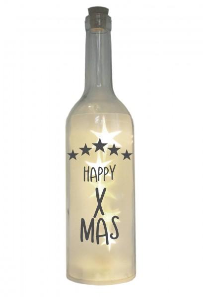 LED-Flasche mit Motiv, Happy X-Mas Sterne, grau, 29cm, Flaschen-Licht Lampe mit Text Spruch