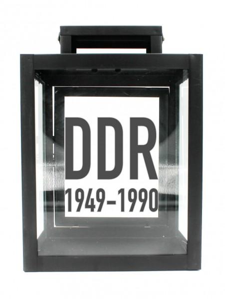 Metall-Laterne mit Aufdruck, DDR 1949 - 1990, schwarz, 25x18x13cm, für LED-Kerzen, Farbauswahl möglich