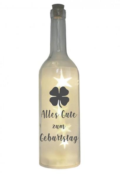LED-Flasche mit Motiv, Alles Gute zum Geburtstag Kleeblatt, grau, 29cm, Flaschen-Licht Lampe mit Text Spruch