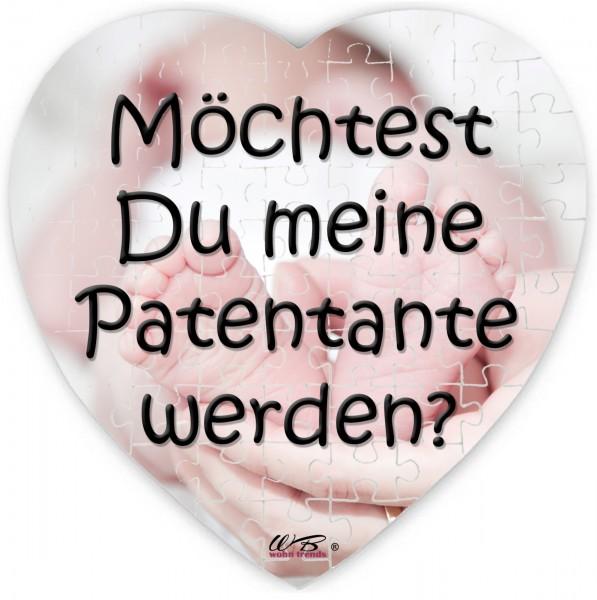 Puzzle-Botschaft Herz, Möchtest Du meine Patentante werden - Babyfüße, 75 Teile 19x19cm inkl. Geschenk-Beutel, WB wohn trends®