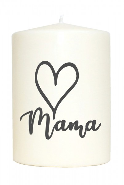 Kleine Spruchkerze weiß, Mama Herz, Aufdruck grau, 10x7cm, Kerze mit Spruch Motiv-Kerze