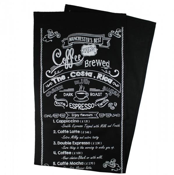 Tischläufer COSTA RICA, Im Café Style, schwarzes Textil mit weissem Aufdruck, 150 x 40 cm