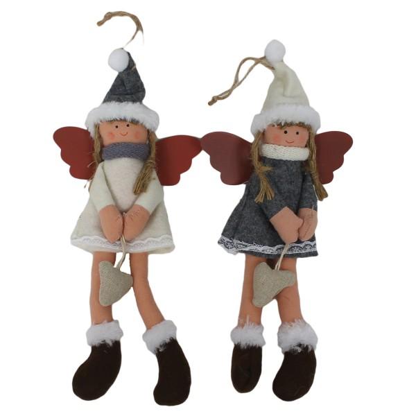 Süße SCHUTZENGEL aus Stoff ~ 2er Set ~ 30cm / rot weiß ~ schöne Deko nicht nur für Weihnachten
