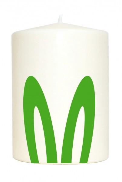 Kleine Spruchkerze weiß, Hasen-Ohren Oster-Hase Frohe Ostern, Aufdruck grün, 10x7cm, Kerze mit Spruch Motiv-Kerze