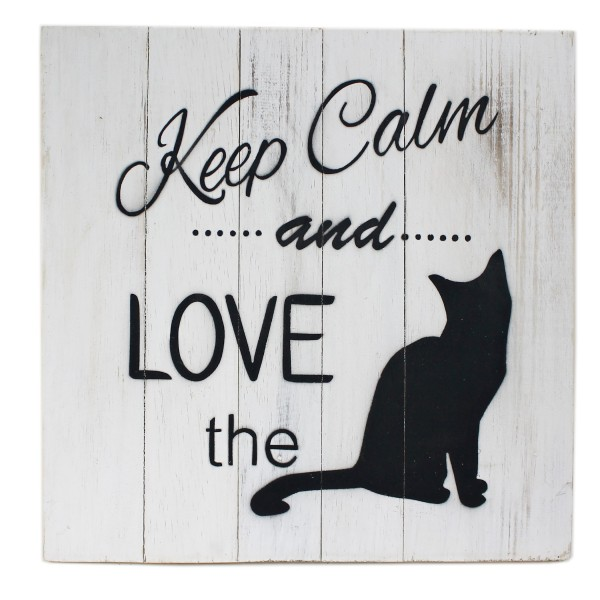 Massives Holz-Schild ~ Keep calm and love the cat ~ weiß ~ 30 x 30 cm ~ Shabby Look