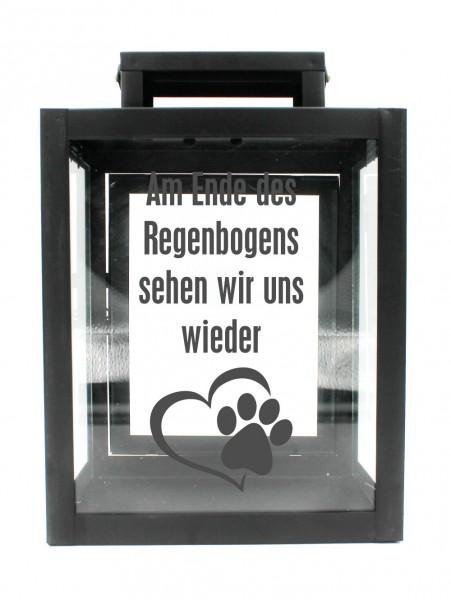 Metall-Laterne Am Ende des Regenbogens Hund Katze Tier-Pfote schwarz 25x18x13cm für LED-Kerzen
