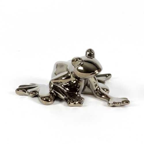Frosch Erwin - 13x12cm - Edle Deko Figur aus Keramik in silber chrom glasiert