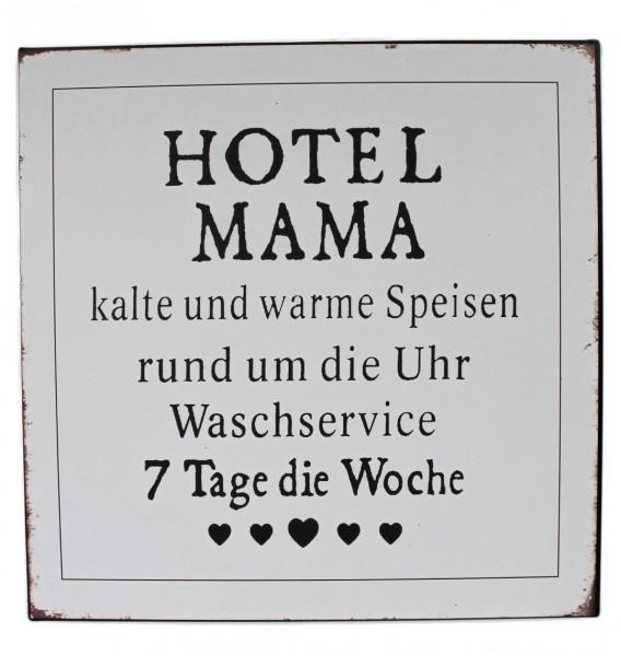 Großes Schild aus Metall - HOTEL MAMA - 30 x 30cm