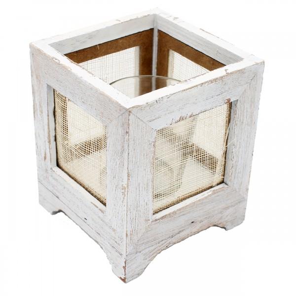 niedliches Windlicht aus Holz, mit Glaseinsatz, shabby weiß lackiert, 10 x 10 x 12 cm