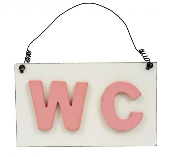 Süßes Schild aus Holz WC zum Hängen ~ rosa creme-weiß ~ 15 x 9 x 1,5 cm