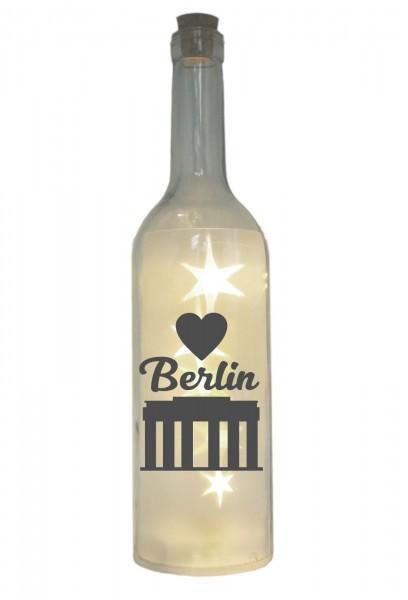 LED-Flasche mit Motiv, Berlin Brandenburger Tor Herz, grau, 29cm, Flaschen-Licht Lampe mit Text Spruch Stadt