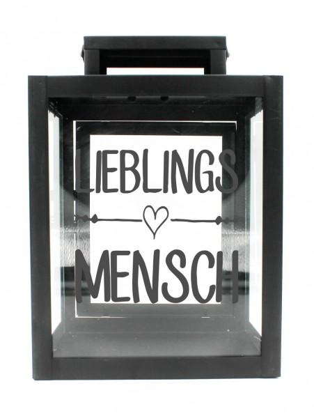 Metall-Laterne Lieblingsmensch schwarz 25x18x13cm für LED-Kerzen