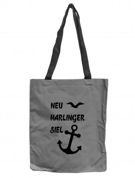 Reflektor-Tasche Neuharlingersiel Anker Möwen maritim, grau-silber REFLEKTIERT! Einkaufs-Beutel mit Innentasche, Einkaufstasche Tragetasche Shopper Shopping-Bag
