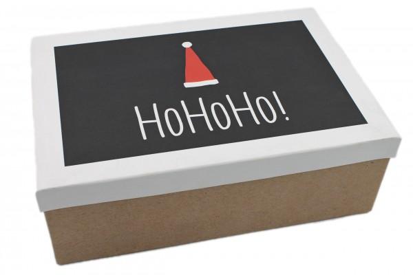 Geschenk-Box Ho Ho Ho ! schwarz weiss, 28,5x20x10cm, 267, Größe&Farbe wählbar, Weihnachten Kiste Karton aus Pappe