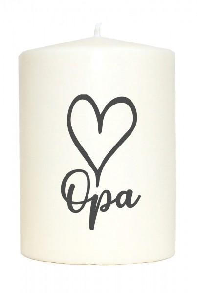 Kleine Spruchkerze weiß, Opa Herz, Aufdruck grau, 10x7cm, Kerze mit Spruch Motiv-Kerze
