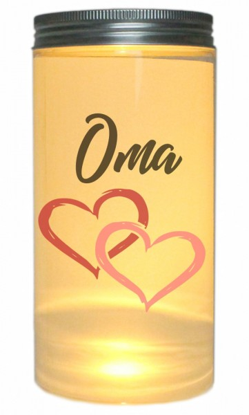 LED-Licht Oma mit Herz, 14x7cm Dose mit Deckel Leuchte LED-Lampe mit Text Spruch Mama Mutter-Tag