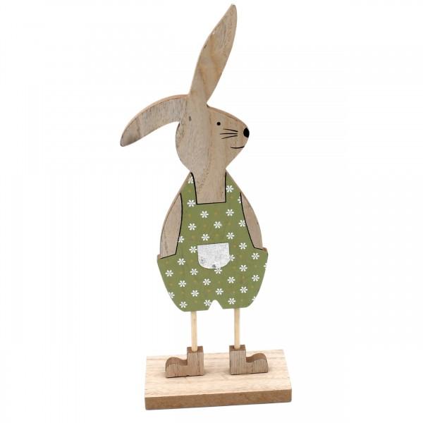 Deko-Figur Hasen-Junge aus Holz, natur grün, Oster-Hase Ostern Frühling, 31,5cm