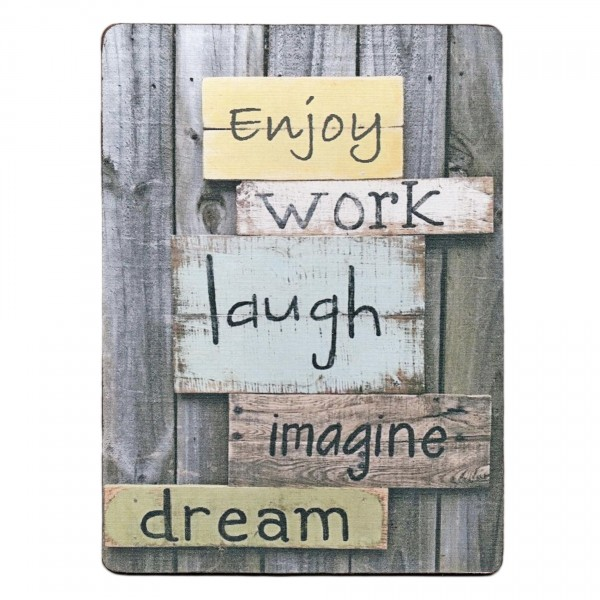 ~ Enjoy work laugh imagine dream ~ Schild aus Holz mit Leinen-Aufdruck ~ 19 x 14