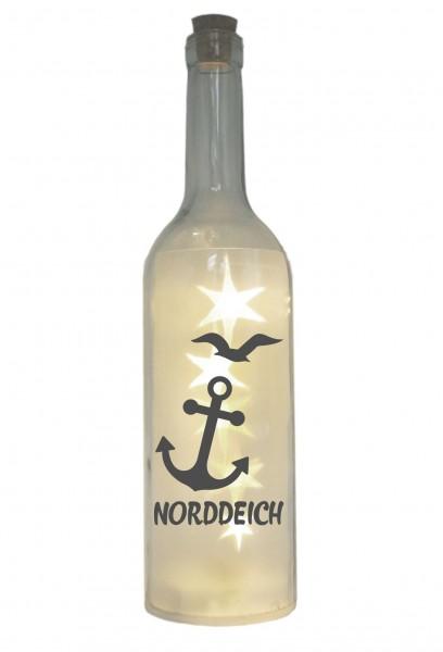 LED-Flasche mit Motiv, Norddeich mit Anker Möwe, grau, 29cm, Flaschen-Licht Lampe mit Text Spruch