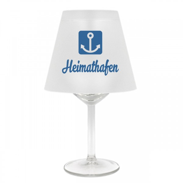 Lampenschirm für Weinglas, Heimathafen mit Anker, blau, Schirm ohne Glas, Windlicht