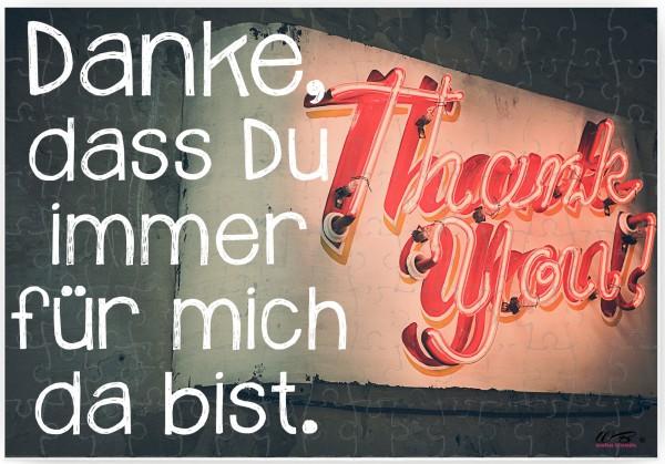 Puzzle-Botschaft eckig ~ Danke, dass Du immer für mich da bist - Thank you ~ 120 Teile 27x18cm inkl. Geschenk-Beutel ~