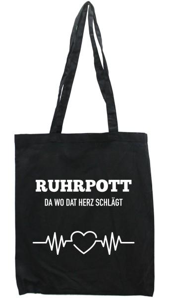 Tasche Ruhrpott da wo dat Herz schlägt, Druckfarbe auswählbar, Einkaufs-Beutel schwarz