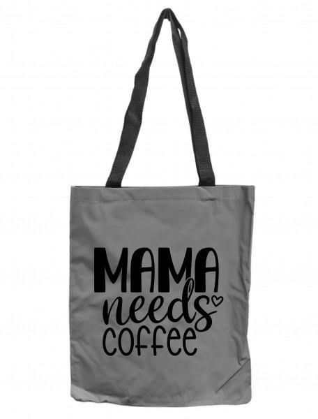Reflektor-Tasche MAMA needs coffee, grau-silber REFLEKTIERT! Einkaufs-Beutel mit Innentasche, Einkaufstasche Tragetasche Shopper Shopping-Bag