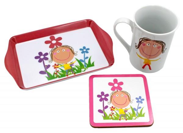 Geschenk-Set für Mädchen, Tasse Untersetzer Tablett, rosa/pink in Geschenk-Verpackung, Kinder-Geschirr